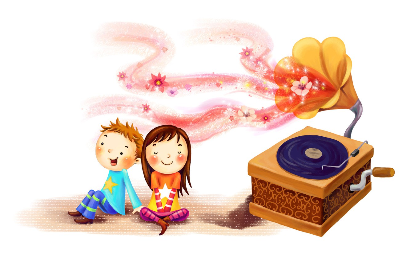 Photo wallpaper joy, children, together, figure, boy, girl, blush, record, gramophone, tufts