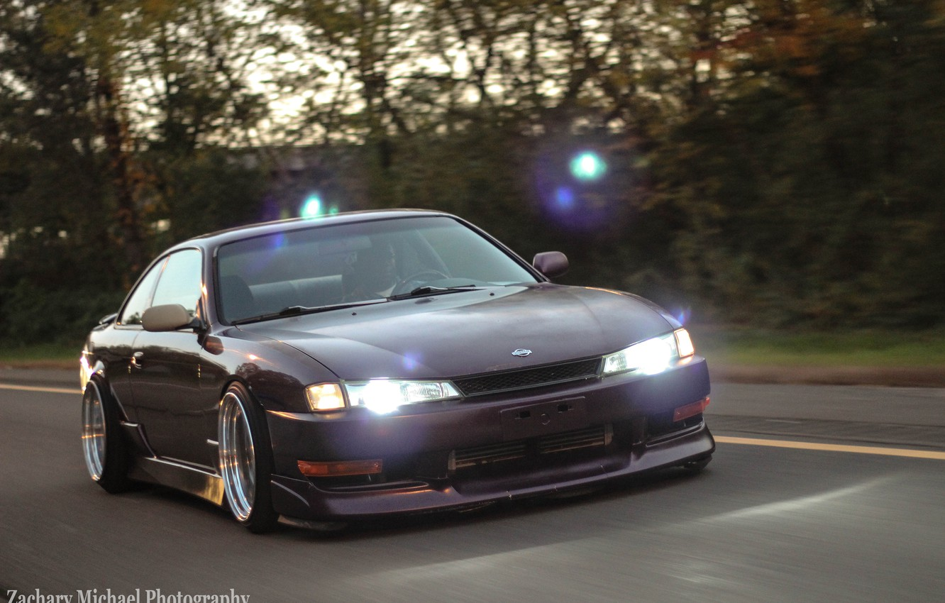 Photo wallpaper Silvia, Nissan, purple, purple, S14, JDM, Stance, Rigshot, Rolling