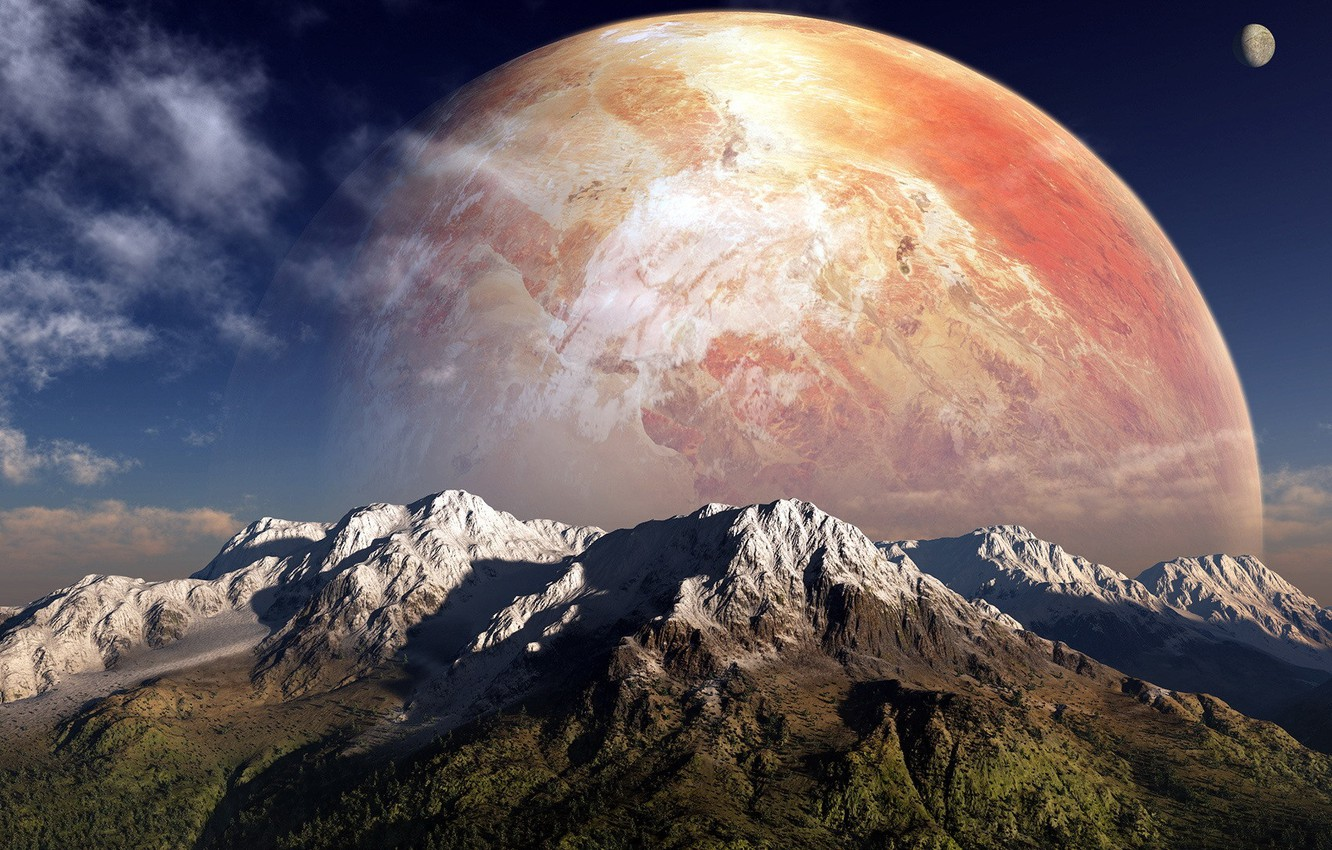 Photo wallpaper the sky, clouds, mountains, Planet