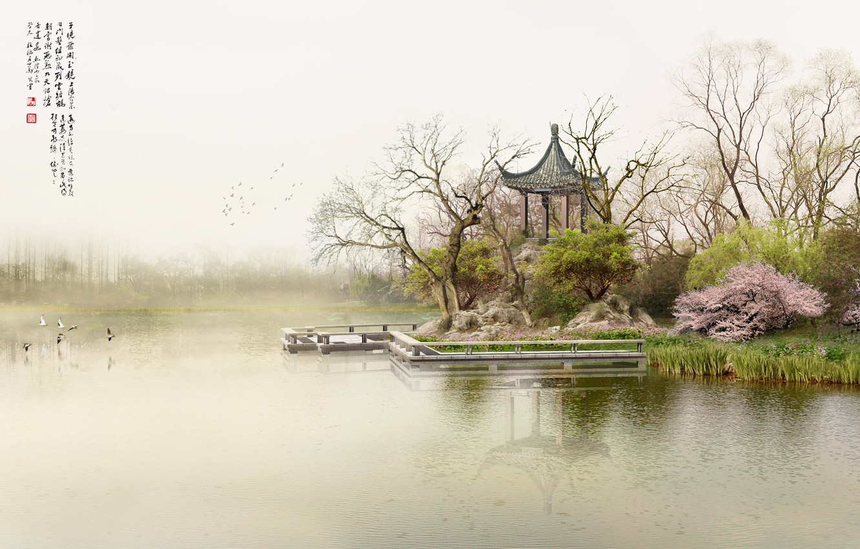Photo wallpaper fog, lake, morning, pier