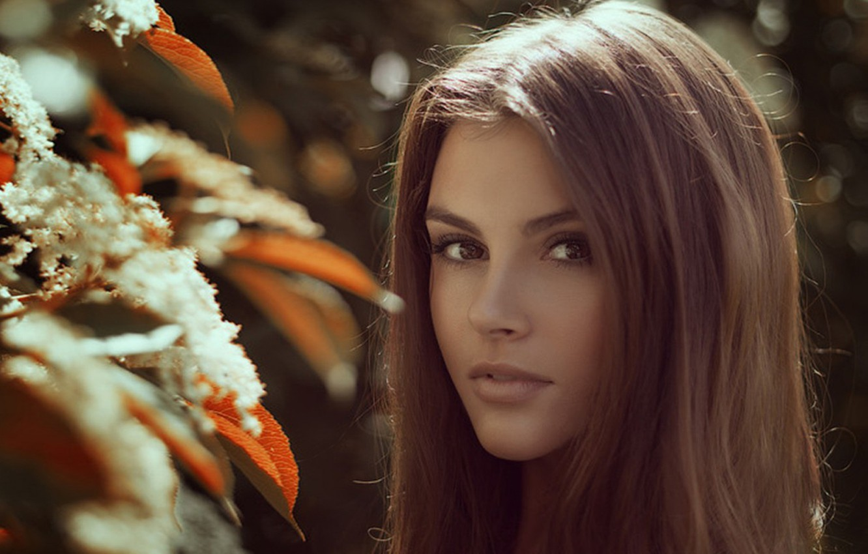 Photo wallpaper eyes, look, girl, flowers, face, hair, beauty, beautiful