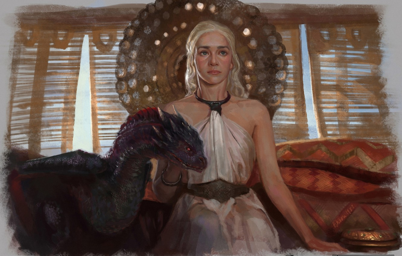 Photo wallpaper girl, dragon, art, A Song of Ice and Fire, Game Of Thrones, A song of …