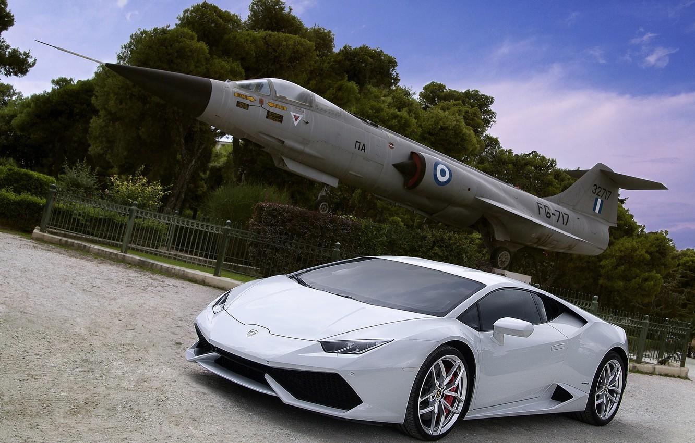 Photo wallpaper Lamborghini, white, plane, Huracan