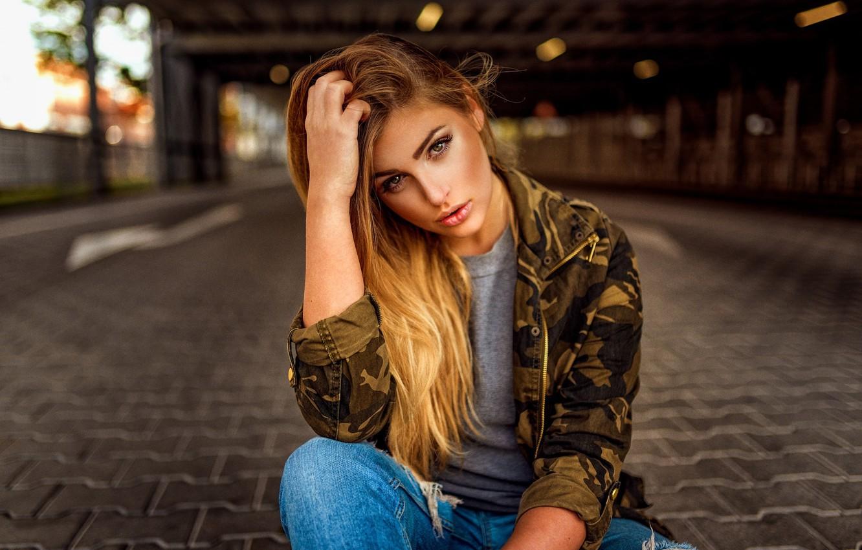 Photo wallpaper look, girl, street, jacket, bokeh