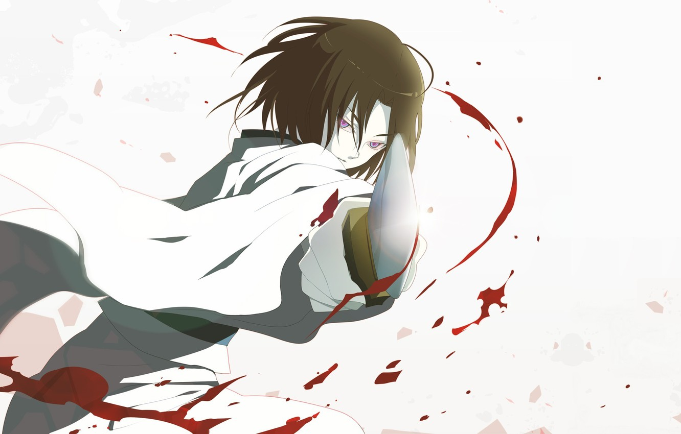 Photo wallpaper blood, katana, blade, blow, Shiki Ryougi, obsessed, The garden of sinners, The war of the …