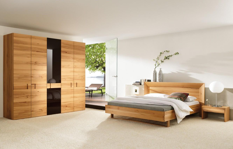 Photo wallpaper sea, glass, leaves, flowers, tree, bed, the door, lamp, vase, wardrobe, sunbed, bedroom, stand