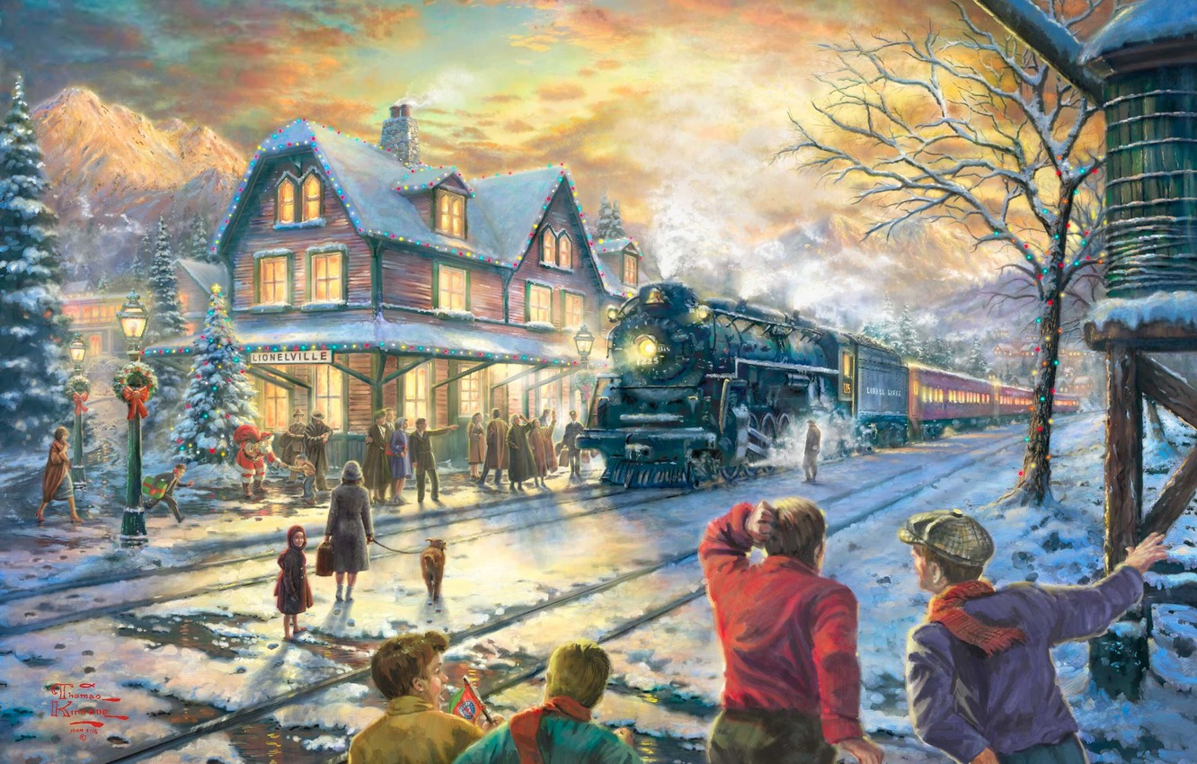 Photo wallpaper winter, snow, lights, house, holiday, train, spruce, station, the evening, Christmas, railroad, New year, tree, …