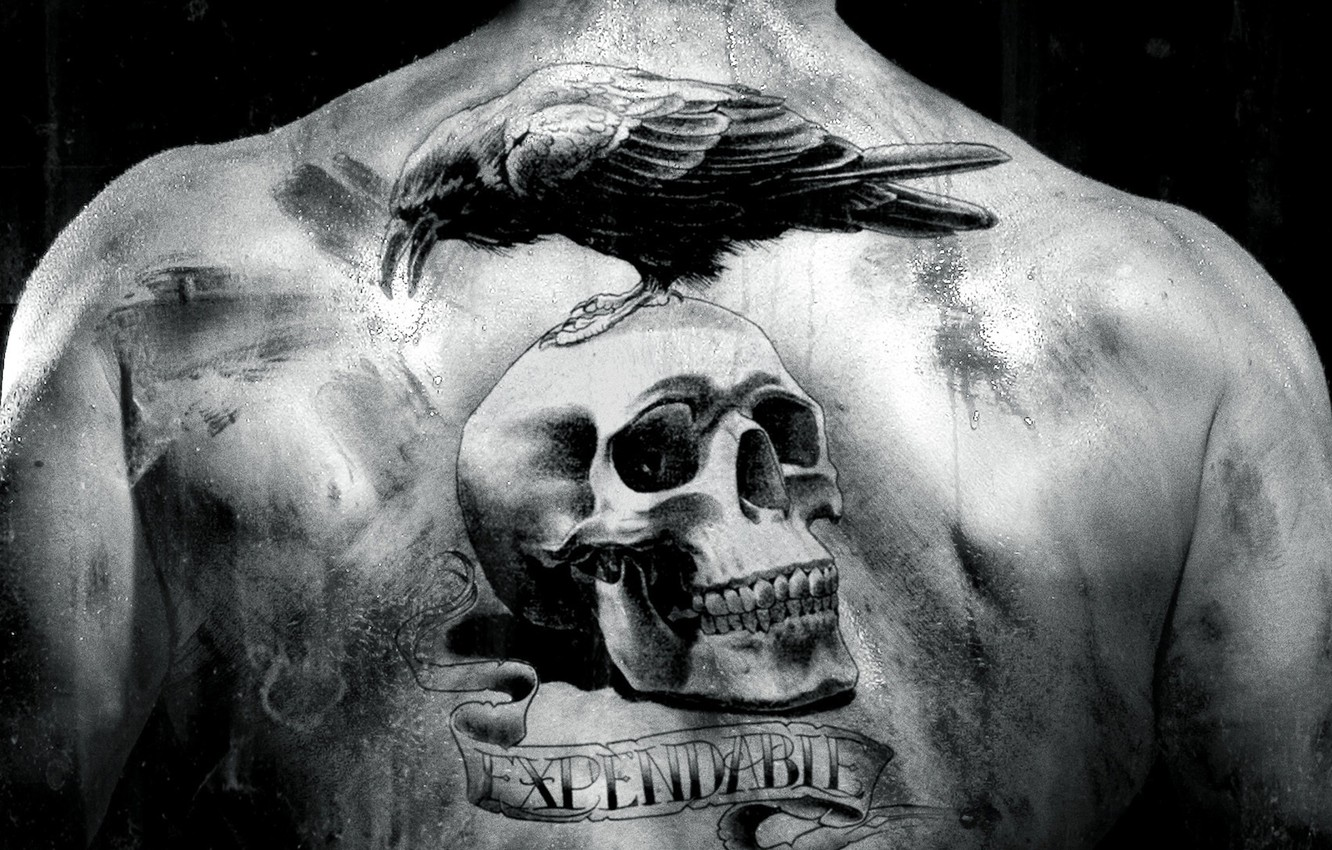 Photo wallpaper the film, back, skull, black and white, tattoo, Raven, The Expendables, the expendables