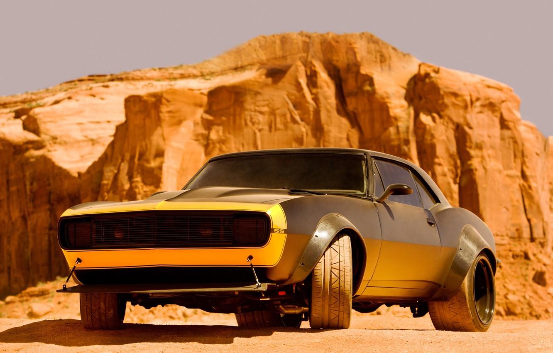 Photo wallpaper Chevrolet, Camaro, car, muscle car, Bumblebee, bumblebee, Transformers 4