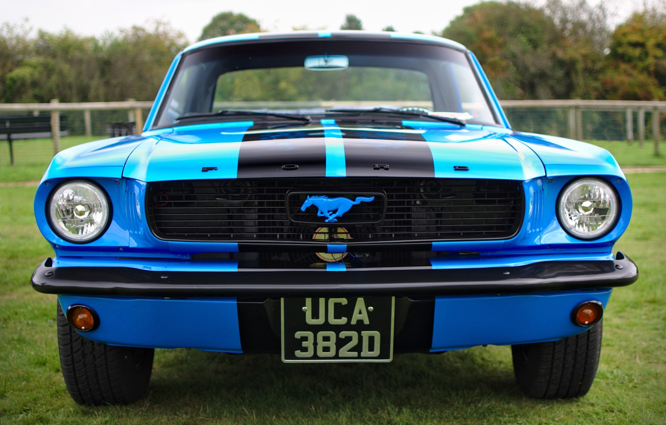 Photo wallpaper retro, Ford Mustang, classic, the front, 1966