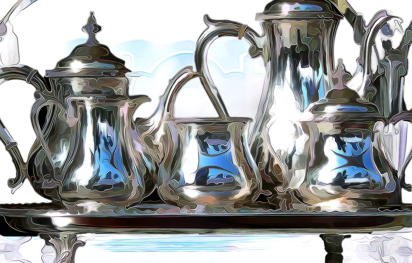 Photo wallpaper line, paint, dishes, pitcher, still life, table