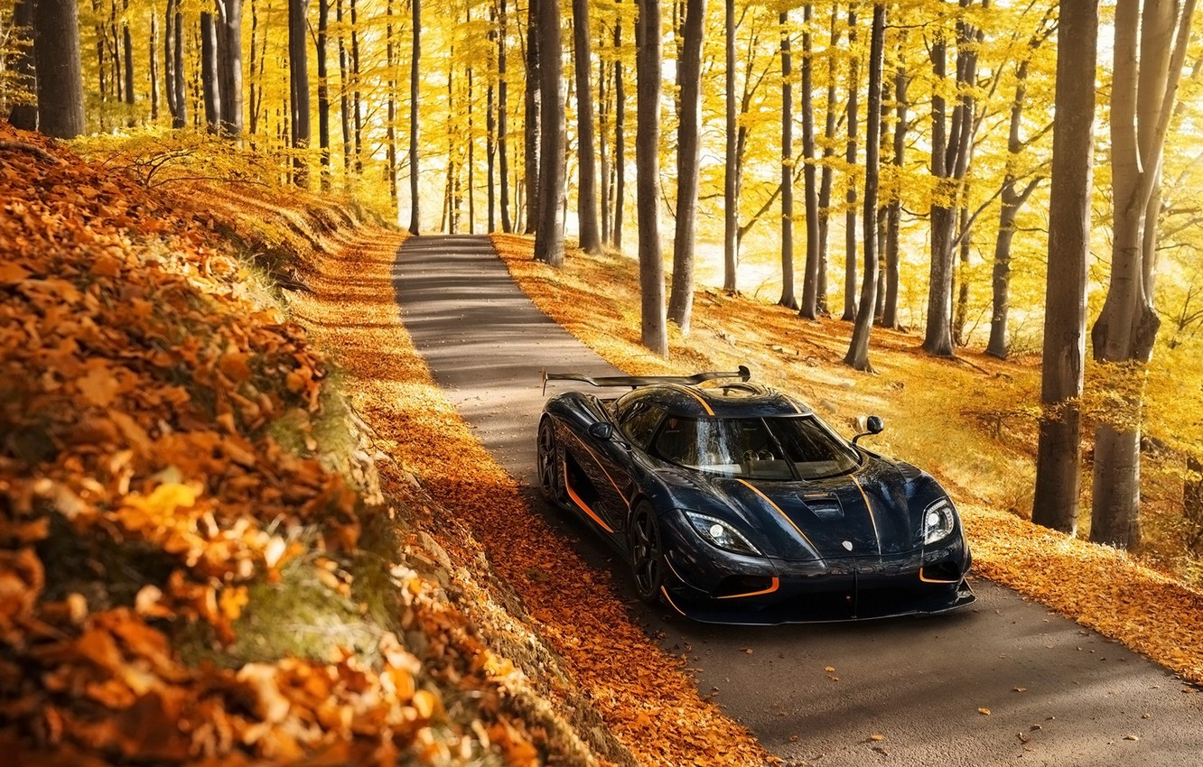 Photo wallpaper autumn, background, Koenigsegg, supercar, the front, Agera, hypercar, Agera, Koenigsegg