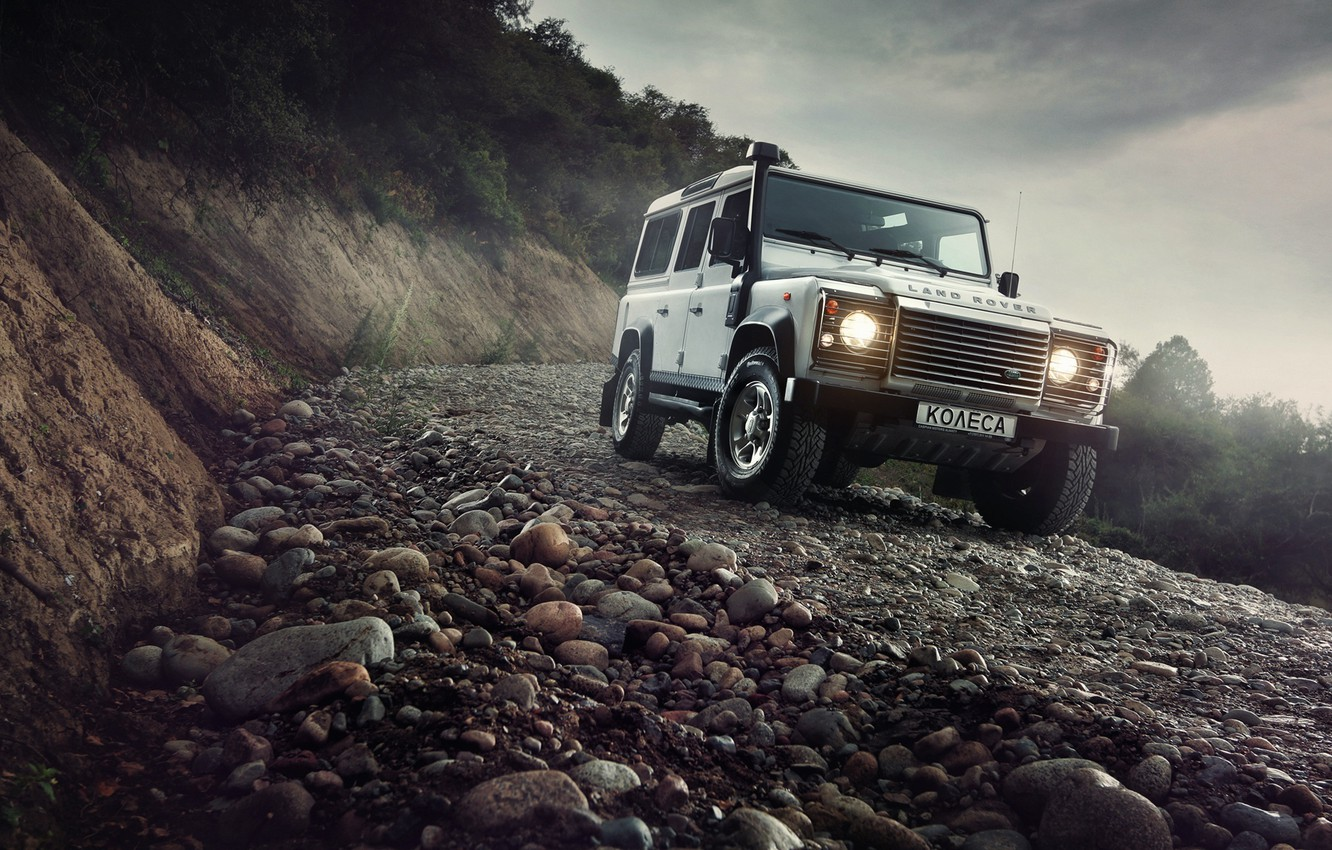 Photo wallpaper Light, Land Rover, Front, 4x4, Defender, SUV, Jeep, Mountain Road
