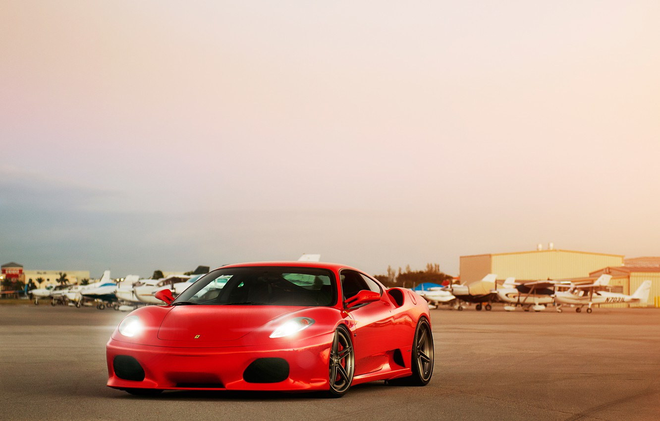 Photo wallpaper light, lights, ferrari, the airfield, f-430