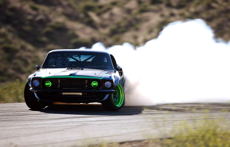 Photo wallpaper smoke, skid, sport, drift, drift, Ford, ford mustang
