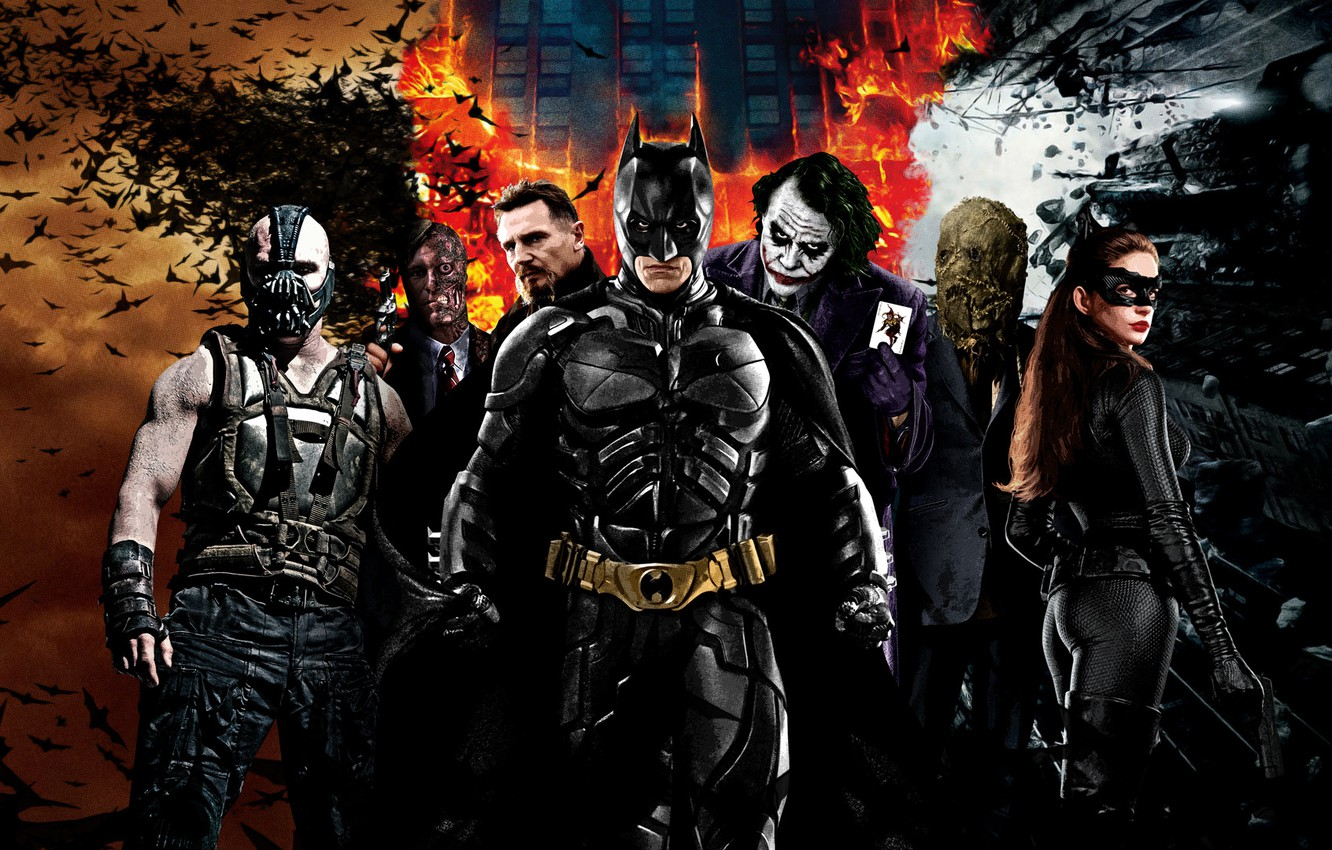 Photo wallpaper Joker, Batman, The Dark Knight, The dark knight, The Dark Knight Rises, Two-faced, Bane, The ...