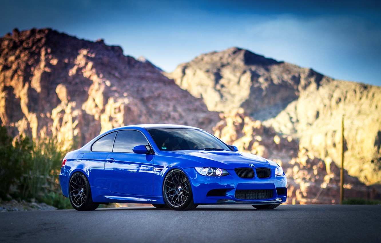 Photo wallpaper mountains, blue, bmw, BMW, blue, e92, daylight