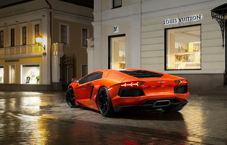 Photo wallpaper Auto, Night, Lamborghini, Orange, Supercar, Lamborghini, LP700-4, Aventador, Puddles