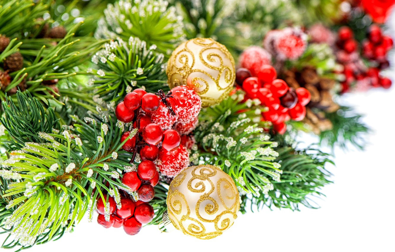 Photo wallpaper balls, berries, gold, balls, pattern, toys, spruce, branch, New Year, Christmas, red, tree, white, Christmas, …