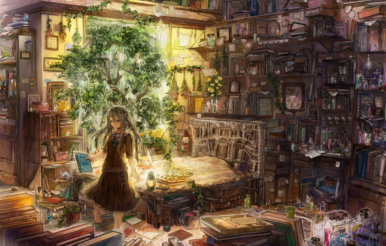 Wallpaper Lamp Books Plants Girl Grass Potions Extracts Zermezeele So Much Gallimaufry Recipes Images For Desktop Section Art Download