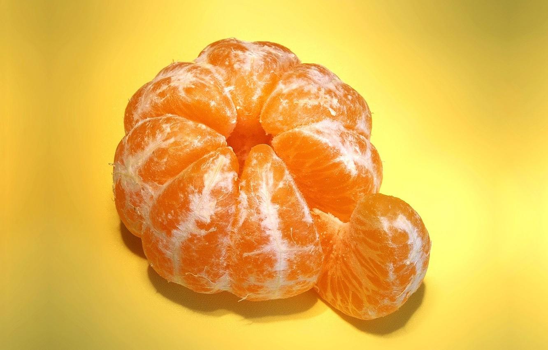Photo wallpaper macro, fruit, Mandarin, a slice of tangerine