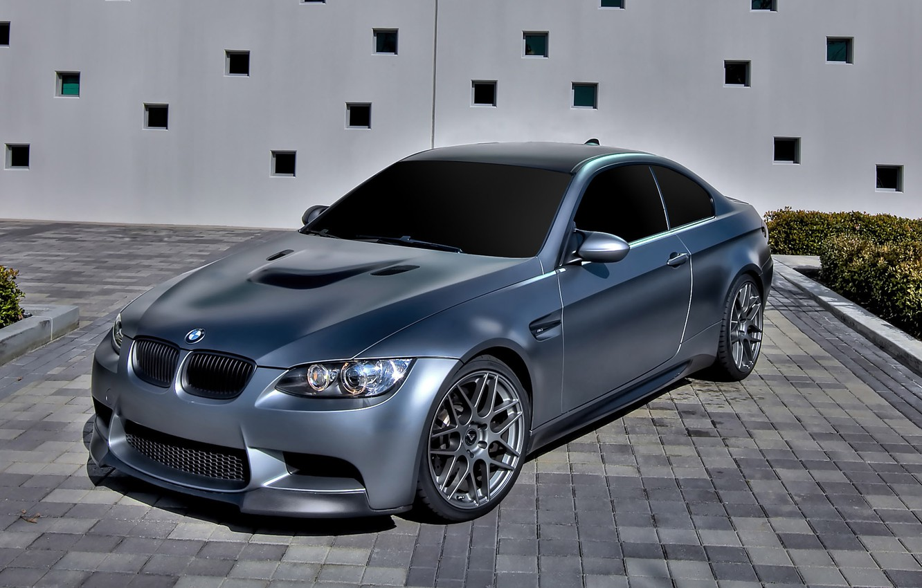 Photo wallpaper the building, bmw, BMW, silver, silver, drives, flowerbed, e92, tinted, daylight