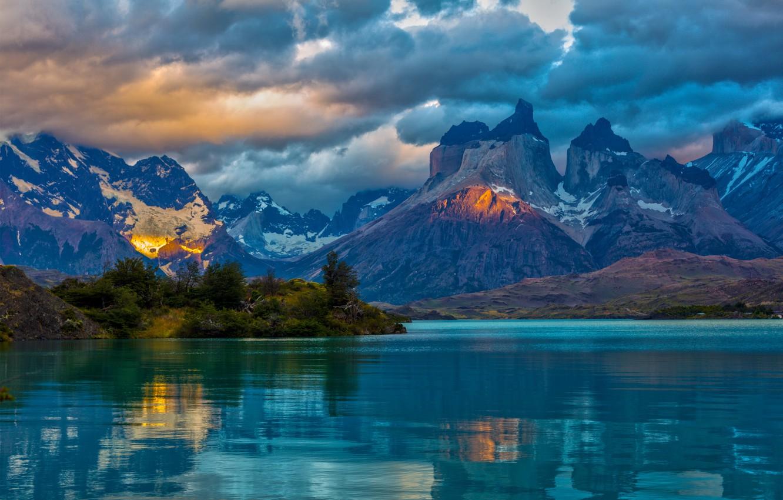 Photo wallpaper clouds, landscape, mountains, nature, lake, Argentina, Patagonia