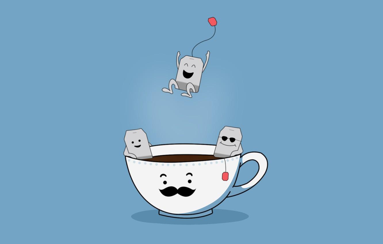 "Photo wallpaper Smiles, Jump, smiley, Series ""Living things"", Tea party, Fun, Teabags, Tea party, Tea bags"