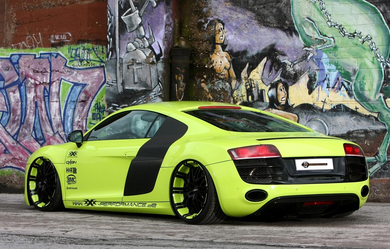 Photo wallpaper background, wall, Audi, tuning, Audi, green, supercar, grafiti, drives, rear view, tuning, V10, B10, XXX …