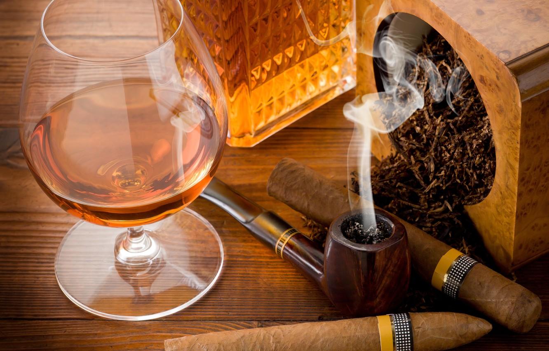 Photo wallpaper table, glass, tube, cigars, cognac, tobacco
