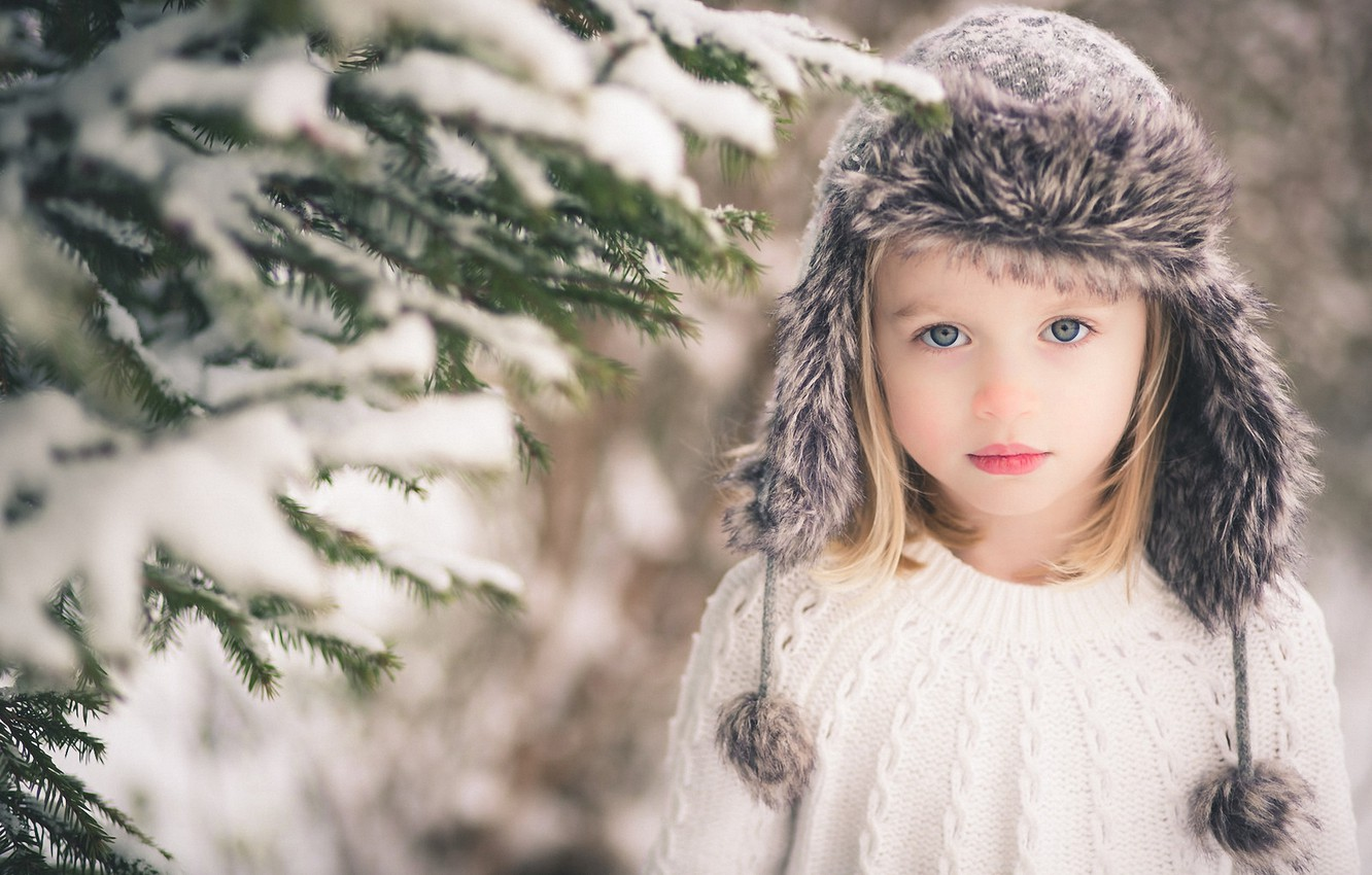 Photo wallpaper look, snow, branches, hat, blonde, girl, tree, child, gray-eyed