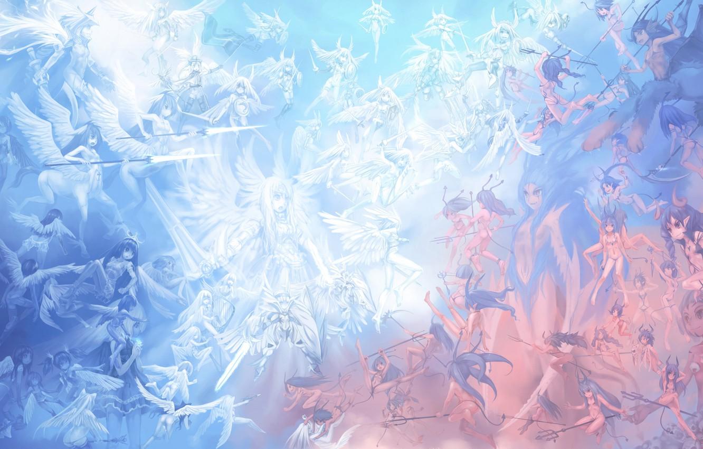 Photo wallpaper angels, fight, demons