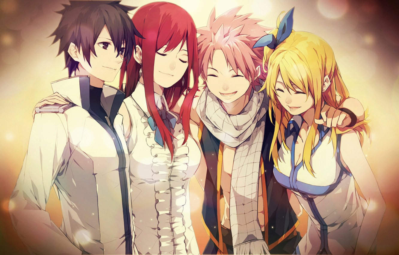 Photo wallpaper characters, fairy tail, tale of fairy tail, Erza, Lucy, grey, Elsa, Natsu