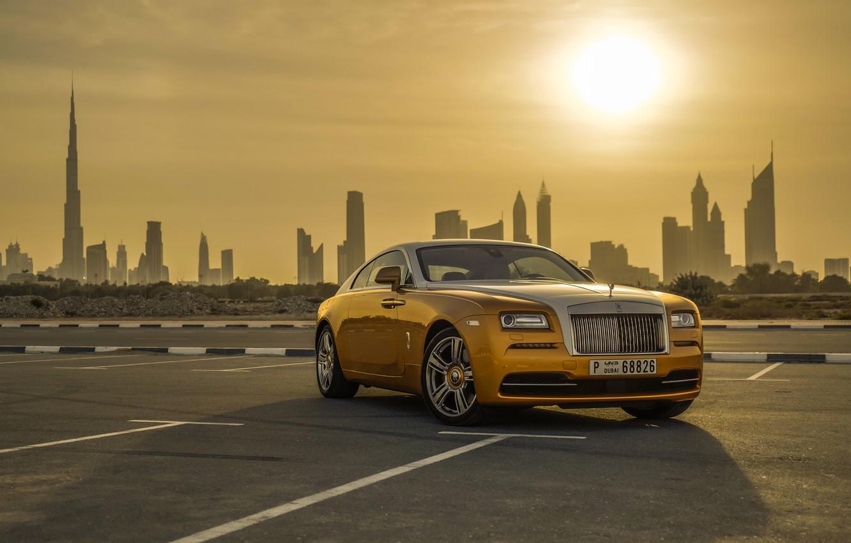 Photo wallpaper Rolls-Royce, Car, Dubai, Gold, Luxury, Wraith, Cityscape