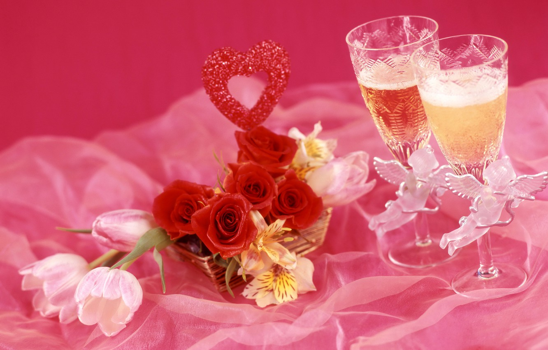 Photo wallpaper wine, roses, glasses, tulips, champagne, alstremeria
