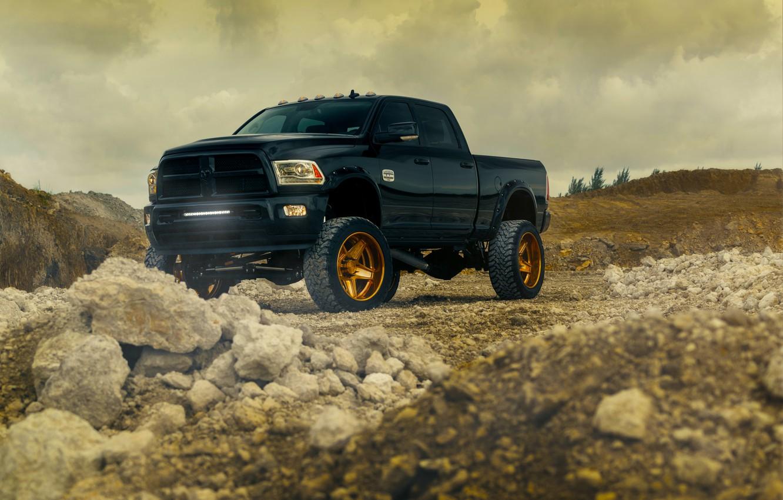 Photo wallpaper Dodge, Front, Black, Truck, Ram, Wheels, Vehicle, Outdoor, ADV.1, Bronze