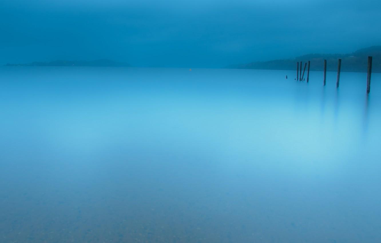 Photo wallpaper landscape, nature, fog, lake, minimalism