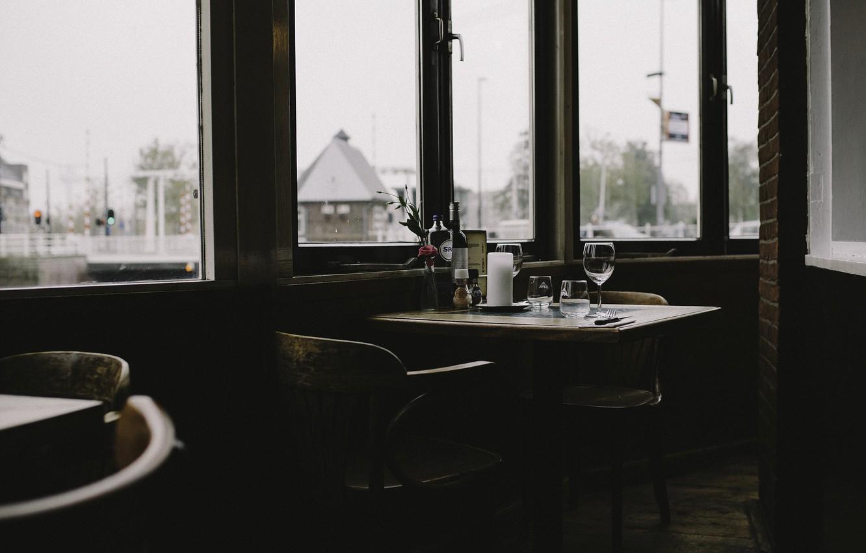 Photo wallpaper windows, glass, wine, fork, knife, candle, restaurant, wine glass
