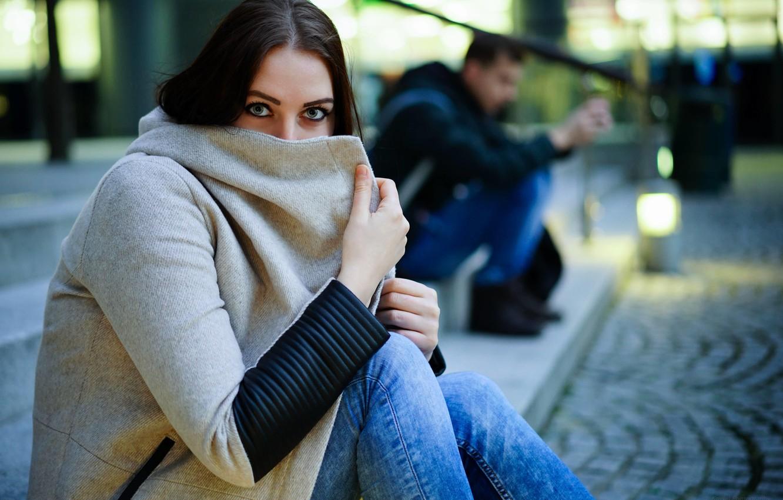 Photo wallpaper look, girl, background, coat