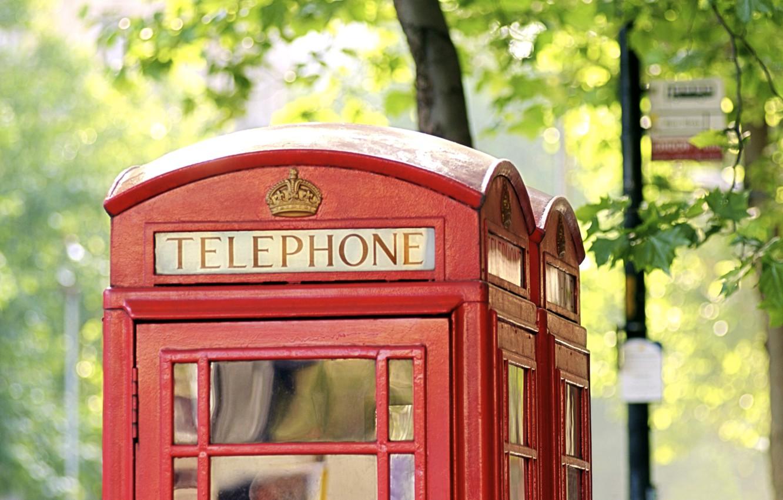 Photo wallpaper England, London, london, england, phone booth, phone booth, city, urban