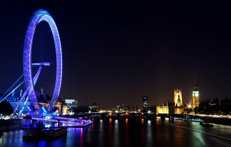 Photo wallpaper night, the city, lights, river, Wallpaper, view, building, England, London, panorama, Ferris wheel, london, Thames, …