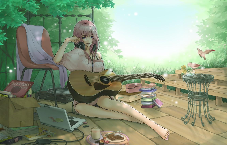 Photo wallpaper girl, birds, guitar, headphones, art, laptop, vocaloid, drives, megurine luka, shirano