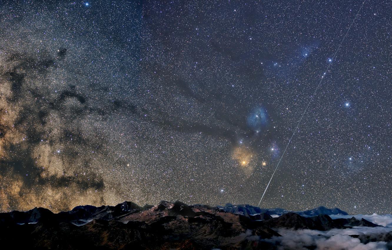 Photo wallpaper stars, mountains, night, the milky way