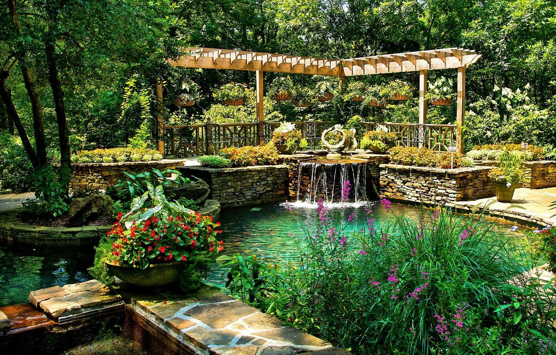 Photo wallpaper water, trees, flowers, pond, Park, USA, beds, Ball Ground, Gibbs Gardens