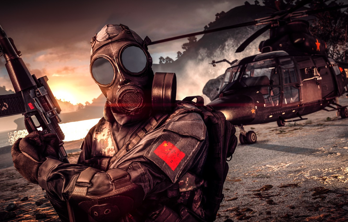 Photo wallpaper weapons, background, soldiers, helicopter, gas mask, Battlefield 4