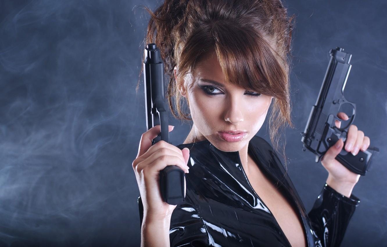 Photo wallpaper girl, weapons, background, guns, smoke, jacket, hairstyle, brown hair