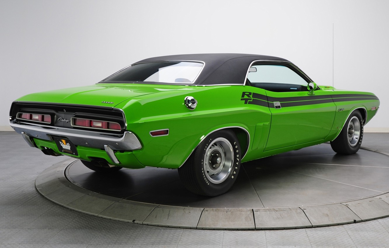 Photo wallpaper background, Dodge, 1971, green, Dodge, Challenger, classic, rear view, Muscle car, Magnum, Muscle car, R/T, …