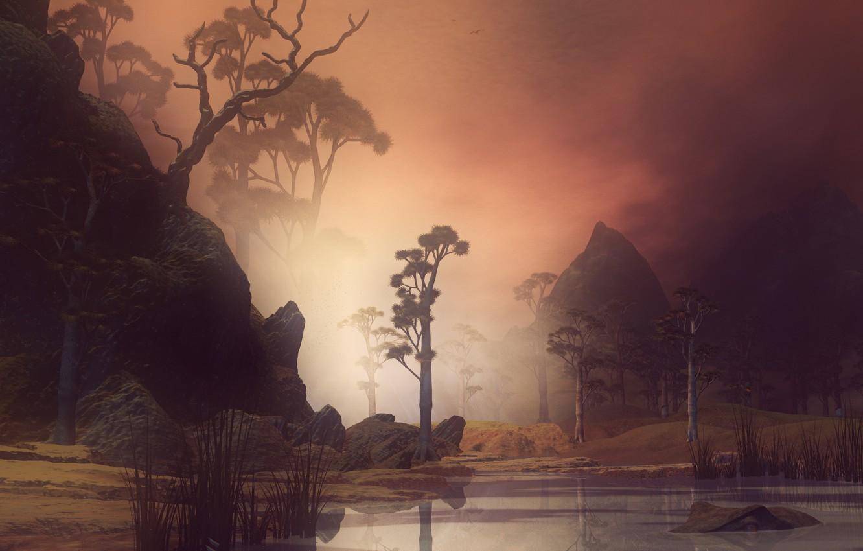 Photo wallpaper nature, figure, graphics