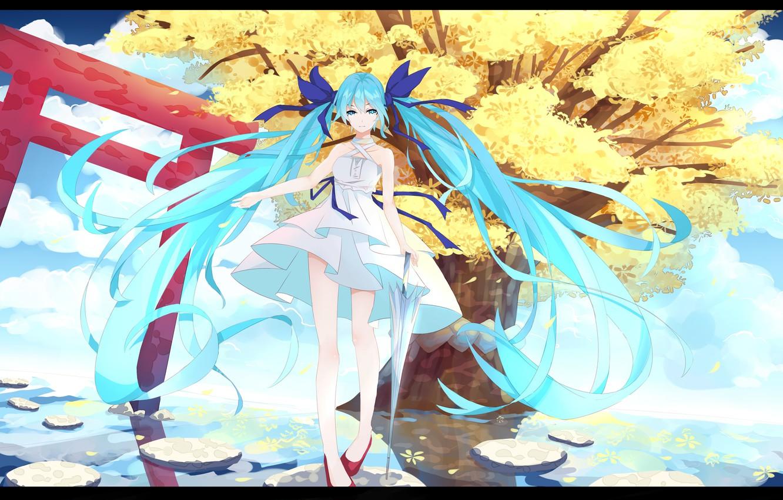 Photo wallpaper water, girl, tree, anime, art, vocaloid, hatsune miku, l.l.