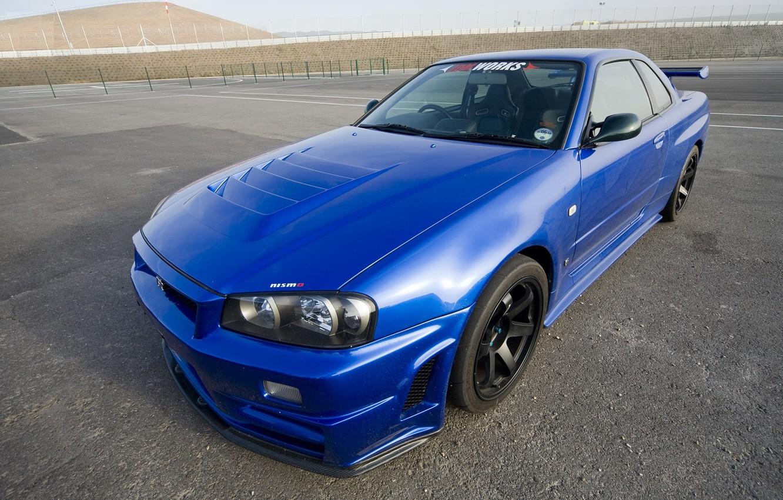 Photo wallpaper Blue, Japan, Nissan, Wallpaper, Drift, Nissan, GT-R, Car, Coupe, Skyline, R34, Skyline, JDM, Nismo, Casting, …